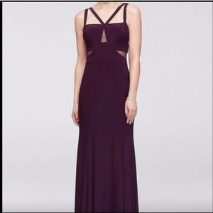 USED Xscape Strappy Peekaboo Mesh Jersey Gown
